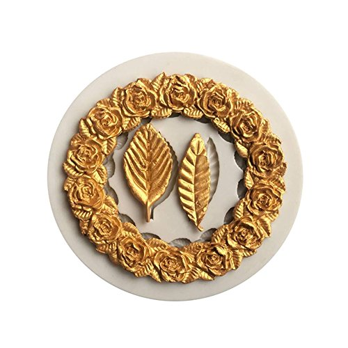Wreath Decoration Clay Silicone Mold, Fondant Cake Candy Mold, Epoxy Resin, Pendant Mold with Jewelry Molds,Earring Necklace Making and DIY Craft - Wreath Candy Mold