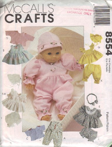 McCall's Crafts Pattern 8554 ~ Doll Clothes Package for Baby Dolls in Three (Small Doll Pattern)