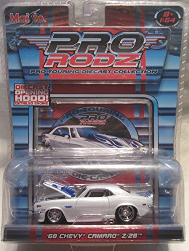 Pro Rodz White with Hood Flames '68 Chevy Camaro Z/28 Pro-Touring Die Cast Collection!