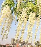Coobl®3.6 Ft Realistic Romantic Classic Artificial Fake Wisteria Vine Ratta Silk Flowers for Garden Floral Decoration DIY Living Room Hanging Flower Plant Vine Home Party Wedding Simulation Decor 12 Pcs (White)