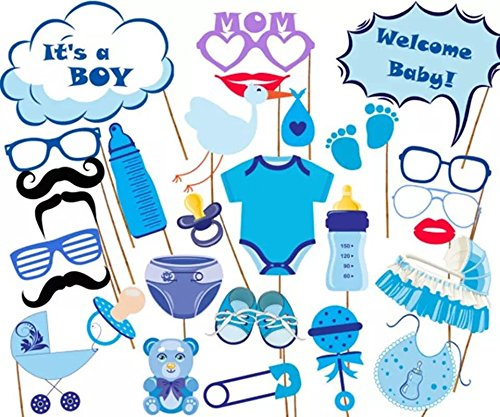 Dtzzou It's A Boy Baby Shower Photo Booth Props 27pcs Funny DIY Kits Photo Mask for Baby Birthday Party ()
