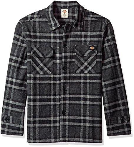 Dickies Men's Long Sleeve Lined Workwear Shirt Jacket, Charcoal/Black, X-Large - Lined Mens Shirt Jacket