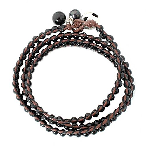 NOVICA Leather and Onyx Wrap Bracelet with Dyed Cultured Freshwater Pearl, New Tribal – 23.5 inch