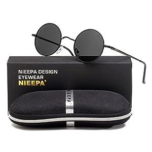 NIEEPA John Lennon Vintage Round Polarized Hippie Sunglasses Small Circle Metal Driving Sun Glasses (Grey Lens/Black Frame)