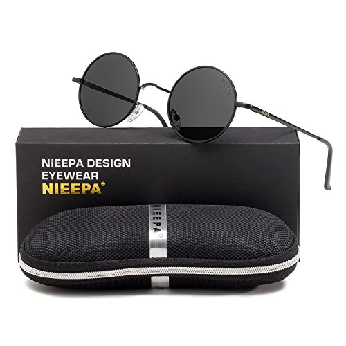 NIEEPA John Lennon Vintage Round Polarized Hippie Sunglasses Small Circle Metal Driving Sun Glasses (Grey Lens/Black - Glass Sunglass Lenses