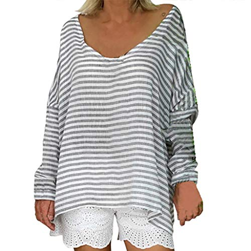 LEKODE Women T-Shirt Fashion Striped Long Sleeve O-Neck Wild Popular Comfort Daily Tops(Gray,S) (Polo Horse Cookie Cutter)