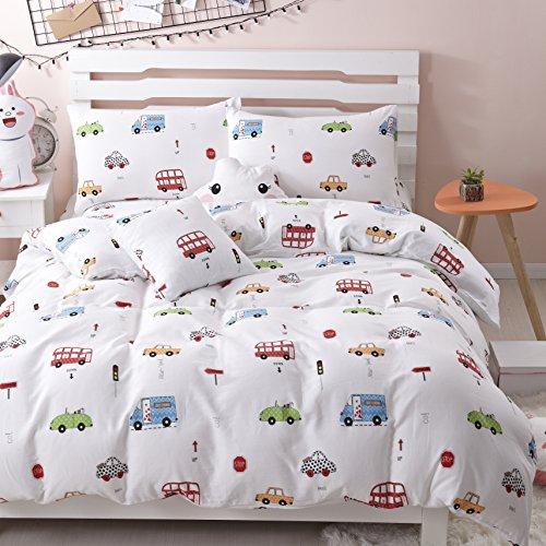 LELVA Cars Bedding Set 3 Piece Boys Bedding Set Cars Duvet Cover Set Cotton Kids Bedding Cotton (Twin, Flat Sheet Set)