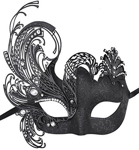 Coxeer Womens Masquerade Mask Swan Black Halloween Mask Metal Filigree Mask