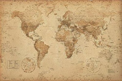 World Map Antique Style Vintage Art Print Poster 36x24 inch