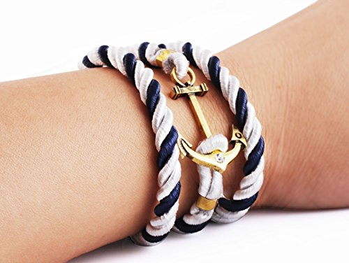 1pc Retro Fashion Style Navy Anchor Bracelet Hand-woven Bracelet