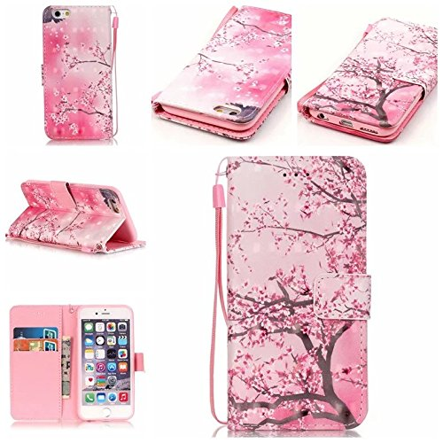 iPhone 6/6S Case,Pink Cherry Blossom Pattern Premium PU Leather Flip Wallet Case Stand Cover with Cash Card Slots Wrist Strap for Apple iPhone 6/6S 4.7 inch