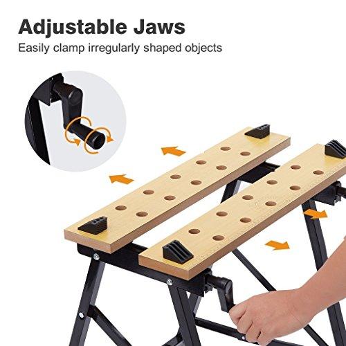 Portable Multipurpose Workbench Table Folding - Toolsempire Adjustable Work Table Sawhorse Vise Heavy Duty Stainless Steel Legs Lightweight Repair Tools For Workshop Light Work by Toolsempire (Image #5)