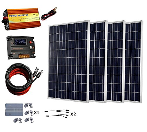 ECO-WORTHY 400Watt Solar Panel with 1000W Pure Sine Wave Inverter Complete kit for RV, Boat, Off-Grid 24 Volt Battery System