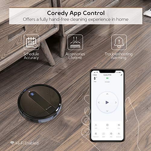 Coredy R750 Robot aspiradora, compatible con Alexa, sistema de fregado, intelecto Boost, soporte para límite virtual, aspiración de 2000 Pa, superdelgada, actualizada, aspiradoras robóticas, limpia el piso duro a la alfombra. 5