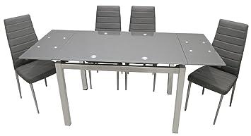 Conjunto mesa EXTENSIBLE de vidrio COLOR GRIS y 4 sillas ...