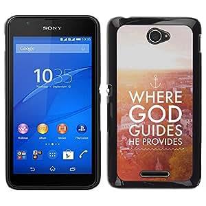Caucho caso de Shell duro de la cubierta de accesorios de protección BY RAYDREAMMM - Sony Xperia E4 - Biblia donde Dios guía Él Proporciona
