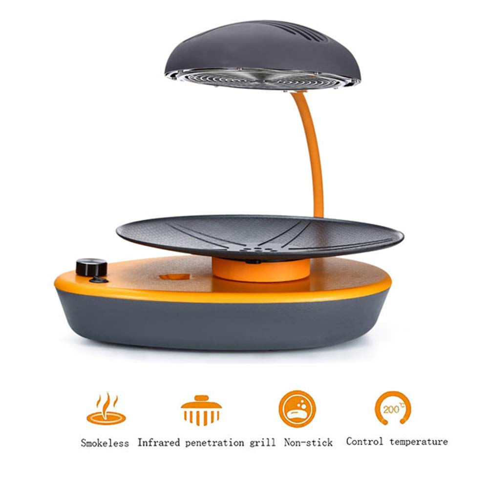 L&QQ Portable BBQ Grill Pot with Infrared Heater,Non-Stick Powerful Electric Grill Multifunctional Smoke-Free Round Baking Pan Multi-Purpose Pot