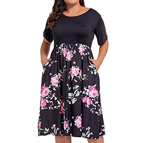 WENSY Women's Summer Fashion Casual Plus Size Print O-Neck Pockets Short Sleeve Patchwork Party Dress Black