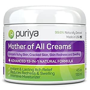 Puriya Cream For Eczema, Psoriasis, Rosacea, Dermatitis, Shingles and Rashes. Powerful 13-in-1 Natural Formula Provides Instant and Lasting Relief For Severely Dry, Cracked, Itchy, or Irritated Skin