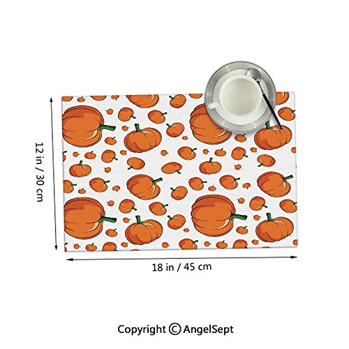 Homenon Placemats for Dining Table Coffee Table,Halloween Inspired Pattern Vivid Cartoon Style Plump Pumpkins Vegetable Orange Green White 12x18inches,Kitchen Table mats,Sets 6]()
