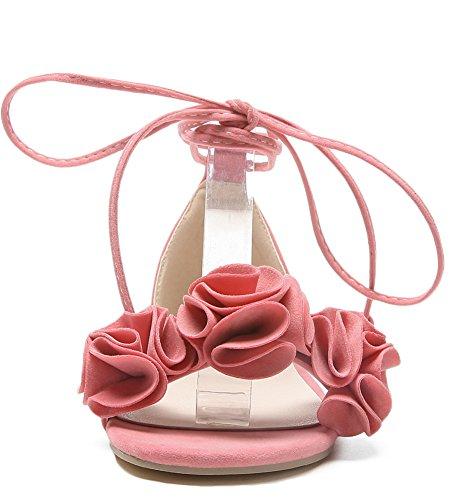 Aisun Women's Comfy Flowers Self Tie Sandals Pink 2cXw4T