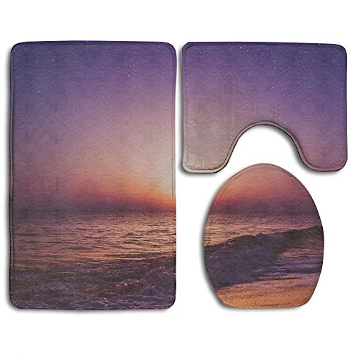Springtime Setting (ILNONO Bathroom Accessories Bath Rug Sets 3 Piece Bathroom Non-Slip Floor Mat Setting Sun Style Pedestal Rug + Lid Toilet Cover + Bath Mat For Kids Womens)