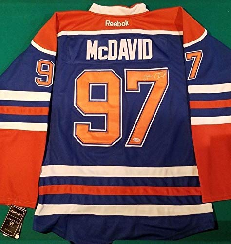 Reebok Authentic Autographed Blue Jersey (Connor Mcdavid Reebok Custom Blue Jersey Autographed Signed Size 50 - Beckett Authentic)