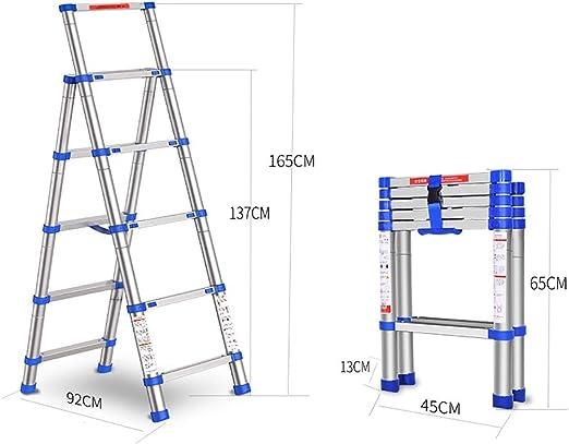 GWXSST Escalera Telescópica Escalera telescópica Escalera de Aluminio Escaleras de elevación multifunción Escalera de ingeniería Espesar Escaleras de Plegado Extensión del hogar Escalera de 5 Pasos: Amazon.es: Hogar