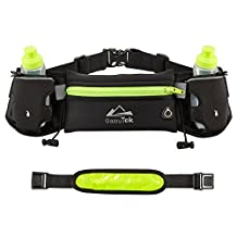 Mira-Tech Hydration Running Belt With Water Bottles:#1 Best Recommended Running Fuel Belt For Men And Women Perfect for Marathons, Hiking-Pockets Fits iPhones6/6SPlus & Free LED Safety Armband (Green)