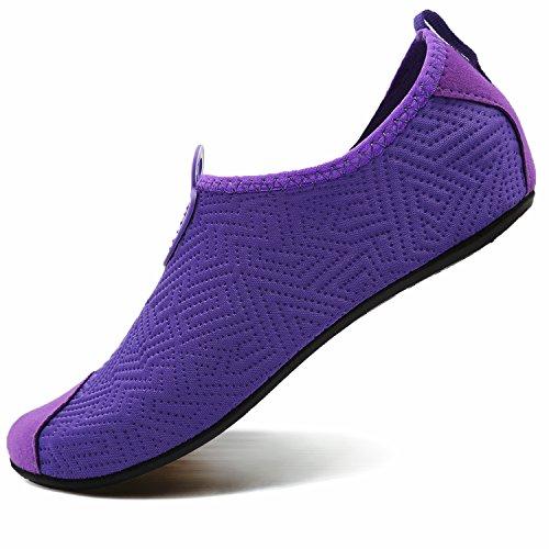 VIFUUR Footwear Indoor Slipper Yoga Sock Shoes Comfort Water Shoes for Men Women C Purple 40/41 by VIFUUR