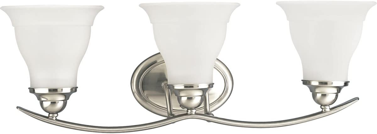 Progress Lighting P3192-09 3-Light Bath Bracket, Brushed Nickel