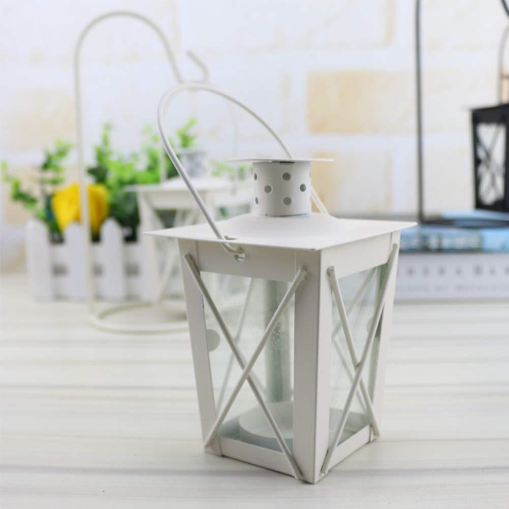 Portavelas de estilo marroquí con gancho de hierro para colgar en la mesa, lámpara de luz de regalo para Año Nuevo, blanco, without hook-1pc