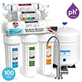 Express Water 10 Stage Home Drinking Water Filtration System Alkaline Mineral Antioxidant + Reverse Osmosis 100 GPD RO Membrane Modern Chrome Faucet Residential Under Sink Water Purification ROALK10M