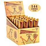 HORNET 144 Pre-Rolled Cones Natural Hemp 1 1/4 Size Organic Cigarette Rolling Papers with Tips-24 packs of 6 cones (78mm)