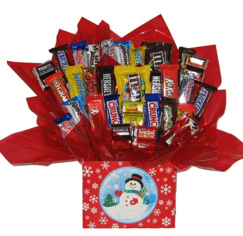 - Chocolate Candy bouquet in a Christmas Holiday Snow Globe gift box