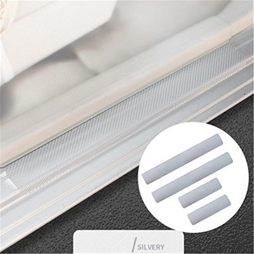 Mehoca 4D Carbon Fiber Car Accessories Door Sill Scuff Protector Stickers 4PCS Silver