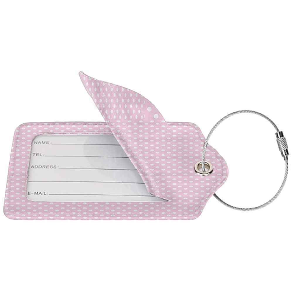 Waterproof luggage tag Polka Dots Home Decor Tiny Little Retro Polka Dots Vintage Style Bridal Nursery Kids Room Pattern Soft to the touch Pink White W2.7 x L4.6