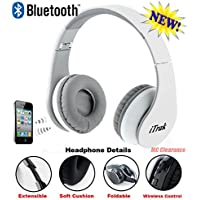 iTrak Wireless Bluetooth Headphone; Over Ear; Foldable; Noise Canceling; Audio Streaming & Call Microphone + USB Charging & Aux In Cable BTH024WMO - White