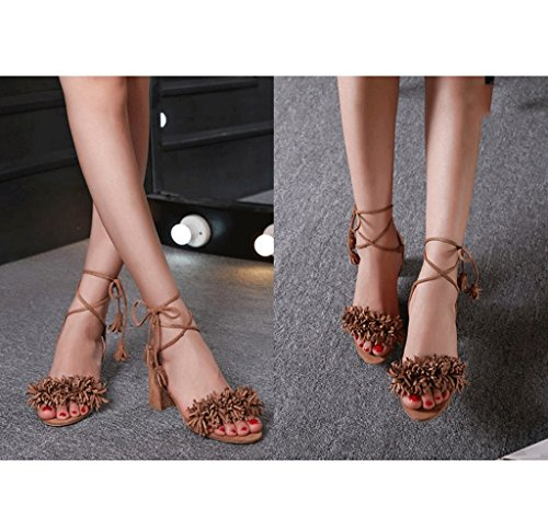 Dream Tassel Straps High Heels Elegant Sandals Sexy Red Ankle Shoes Roman Shoes Brown e5ABqq4O