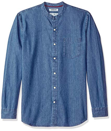 Amazon Brand - Goodthreads Men's Standard-Fit Long-Sleeve Band-Collar Denim Shirt