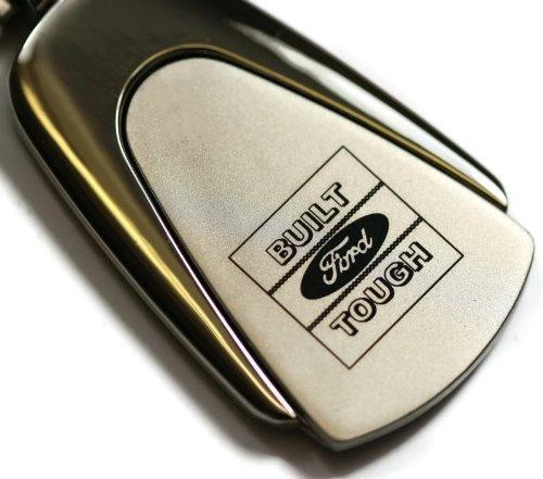 Ford F150 F250 F-150 F-250 Built Ford Tough Chrome Teardrop Key Fob Authentic Logo Key Chain Key Ring Keychain (Built Ford Tough Logo)