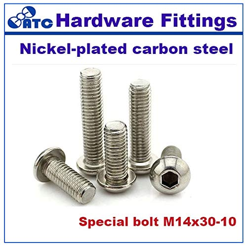 Nuts Standard 50pcs/lot Half Round Head Bolt Carbon Steel Nickel Plated for M14x30-10 Stainless Steel SS304 - (Size: M14x30x10, Color: M14x30x10)