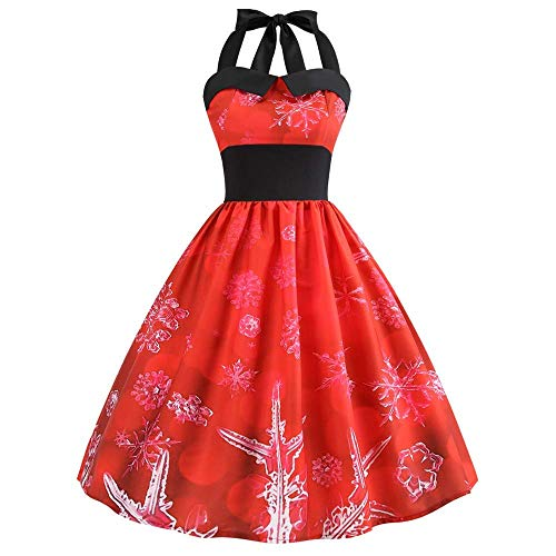 Christmas Party Dress, Women Ugly Holiday Knit Cute Pullover Xmas Sweater Dress(Red Large)