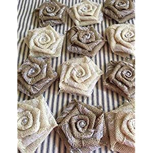"Set of 12 Burlap Flowers in Natural and Ivory with Lace 3.5"" Flowers Cake Top Wreath Rustic Decor Centerpiece Wedding Reception Table 95"