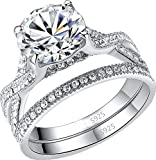 MABELLA Wedding Ring Set Engagement Anniversary Sterling Silver 2.75 CT Cubic Zirconia Infinity Solitaire Ring
