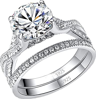 Amazon Com Mabella Wedding Ring Set Engagement Anniversary Sterling