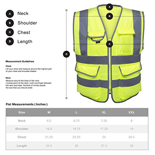 Neiko 53994A High Visibility Safety Vest with 7 Pockets and Zipper, Neon Yellow | Size L by Neiko (Image #4)