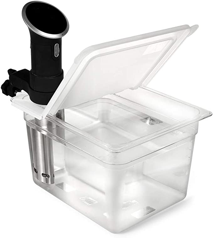 Amazon.com: EVERIE Sous Vide Container 12 Quart EVC-12 with Collapsible Hinge Lid Compatible with Anova Cookers (Corner Mount) (Does Not Fit Nano or AN500-US00): Kitchen & Dining