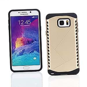 Kit Me Out ES ® Funda híbrida rígida y ultrarresistente Plástico rígido/ gel TPU + Cargador para el coche + Protector de pantalla con gamuza de microfibra para Samsung Galaxy Note 5 - Oro