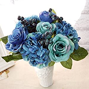 XGM GOU Artificial Silk Blue Rose Flowers Bouquet Artificial Berries Floral Wedding Hydrangea Artificial Flowers for Home Decoration 52